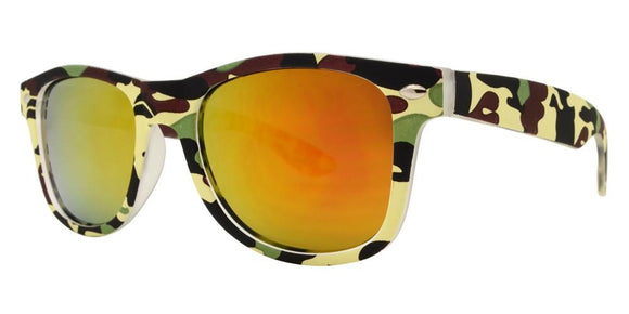 K5678EZ Yellow Camo Kids Wayfarer Sunglasses
