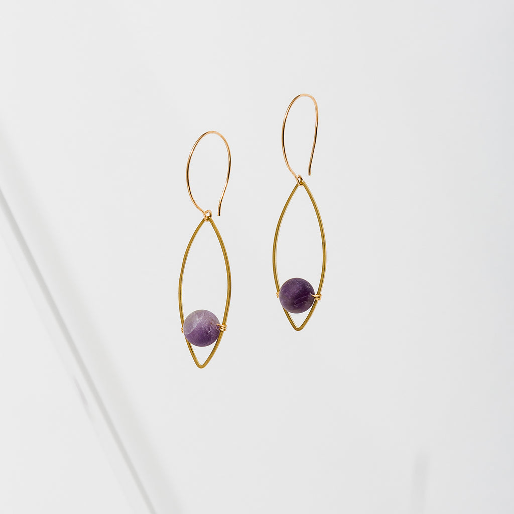 Larissa Loden Jewelry, Handmade in MN. Georgia Earrings, Mini gemstone beads accented with brass leaf-shaped component. Earrings are approx. 2 inches long. Nickel free ear wires.