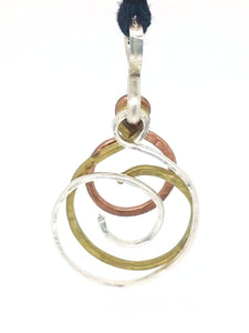 Brass, 925 and Copper Swirls Necklace