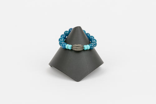 Turquoise and Agate with Pave Diamond Bracelet