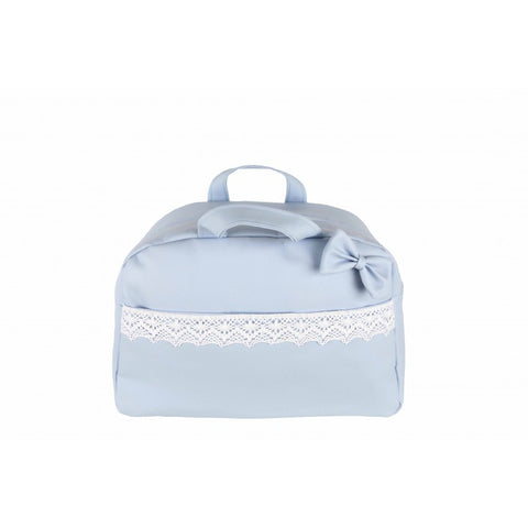Blue Bow and Lace Baby Changing Bag - Arabella's Baby Boutique