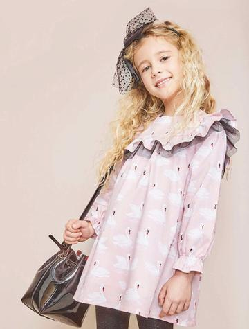 Dadati Pink Swan Girls Dress - Arabella's Baby Boutique