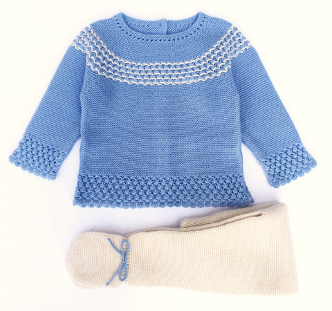 Granlei Blue & Camel Knit Suit - Arabella's Baby Boutique