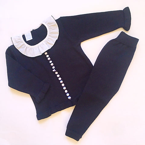 Navy Granlei Knitted Tracksuit - Arabella's Baby Boutique