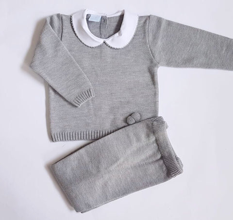Granlei Knitted Tracksuit Grey - Arabella's Baby Boutique