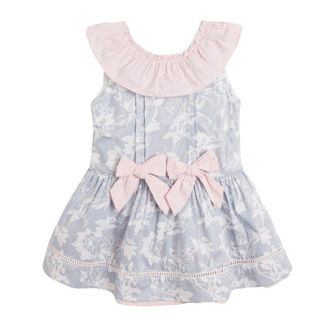 Newness Pink & Grey Dress with Frill Collar - Arabella's Baby Boutique