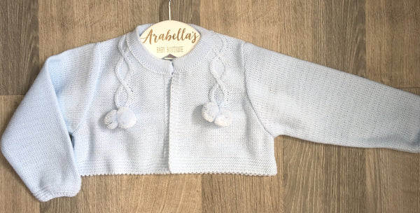 'Emiliano' Baby Blue Knitted Cardigan - Arabella's Baby Boutique