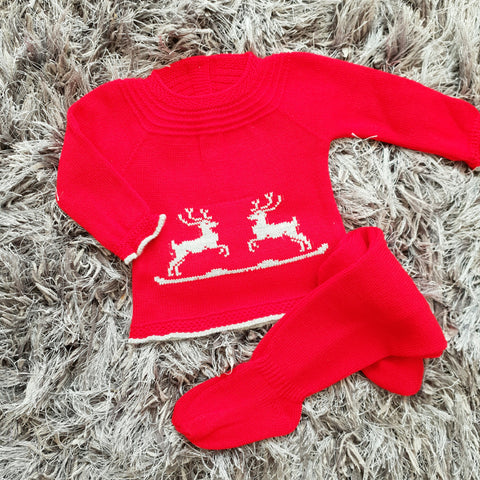 Reindeer Red Knitted Baby Set - Arabella's Baby Boutique