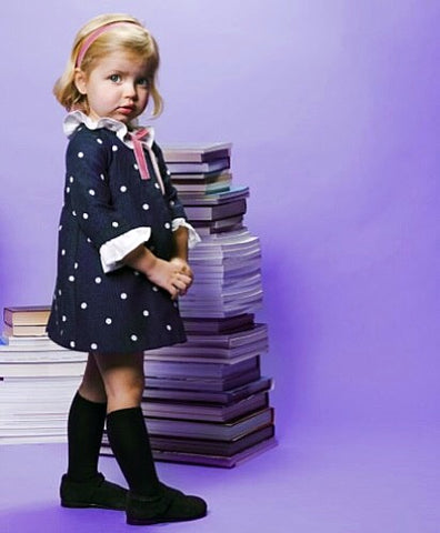 Fina Ejerique Navy Blue Spot Dress - Arabella's Baby Boutique