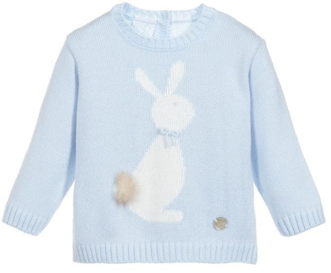 Granlei Knitted Bunny Jumper Blue - Arabella's Baby Boutique