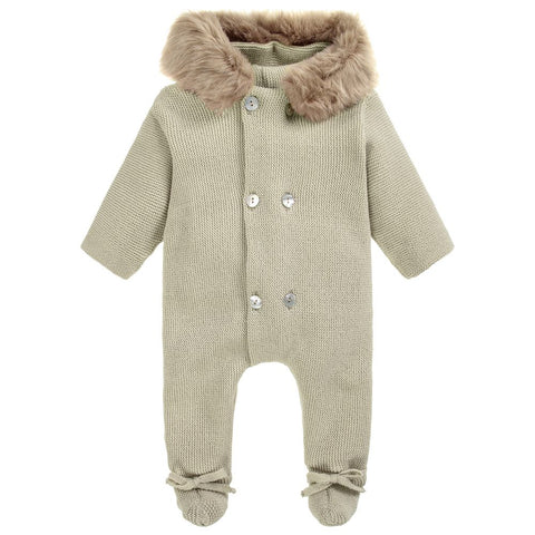 Mebi Knitted Pramsuit in Camel - Arabella's Baby Boutique