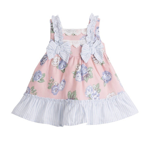 'Charlotte' Pink & Blue Baby Girl's Dress - Arabella's Baby Boutique