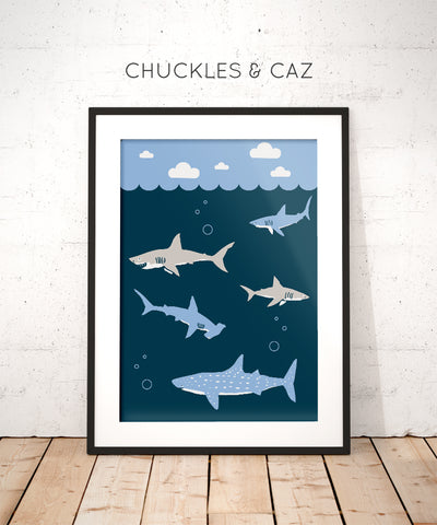 Swimming Shark Digital Artwork - Chuckles & Caz