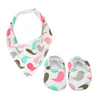 Fluro Pink Bird Baby Booties & matching Dribble Bib - Gift Set - Chuckles & Caz