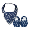 Navy Nautical Baby Booties & matching Dribble Bib - Gift Set - Chuckles & Caz