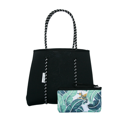 Tropical Palm / Black Reversible Neoprene Tote Bag & Tropical Palm Muslin Swaddle - Gift Set