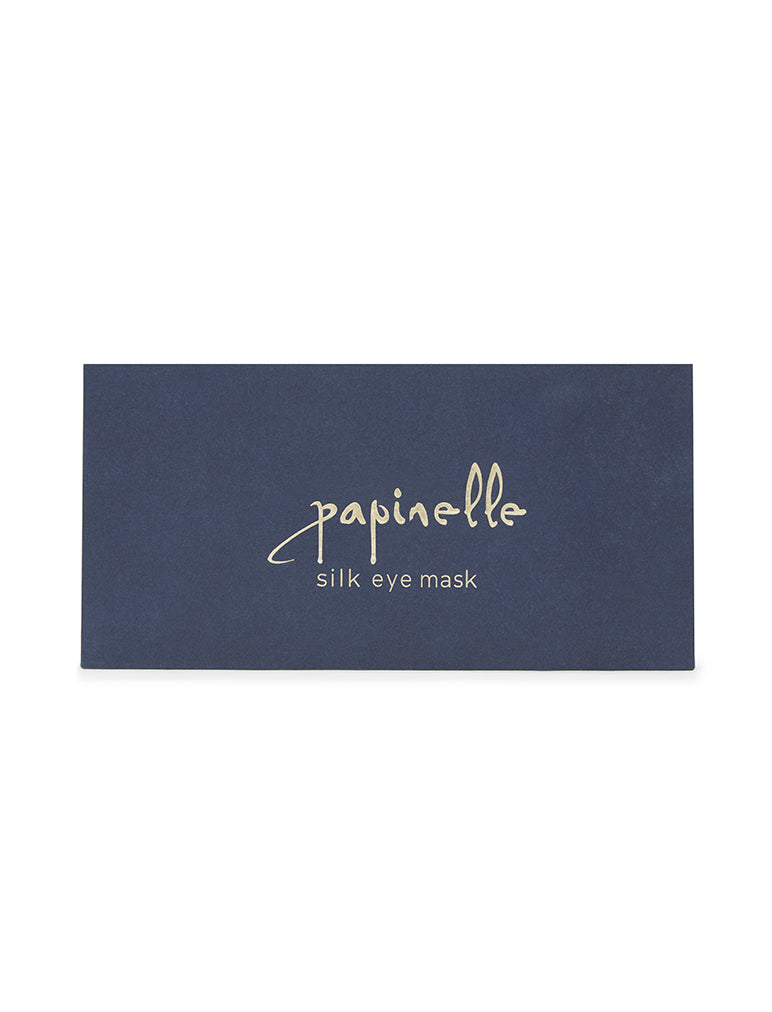Navy Boxed Silk Eye Mask