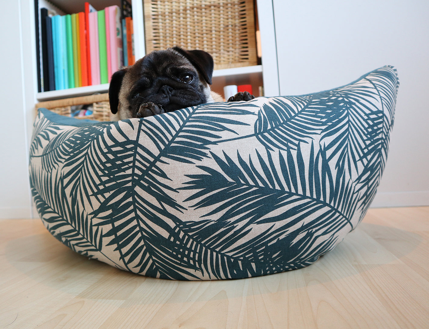 Awe Inspiring Leafs Petrol Fabric Boat Bed Nais Products Alphanode Cool Chair Designs And Ideas Alphanodeonline