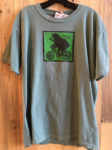 Bicycling Bear Adult T-Shirt - Green
