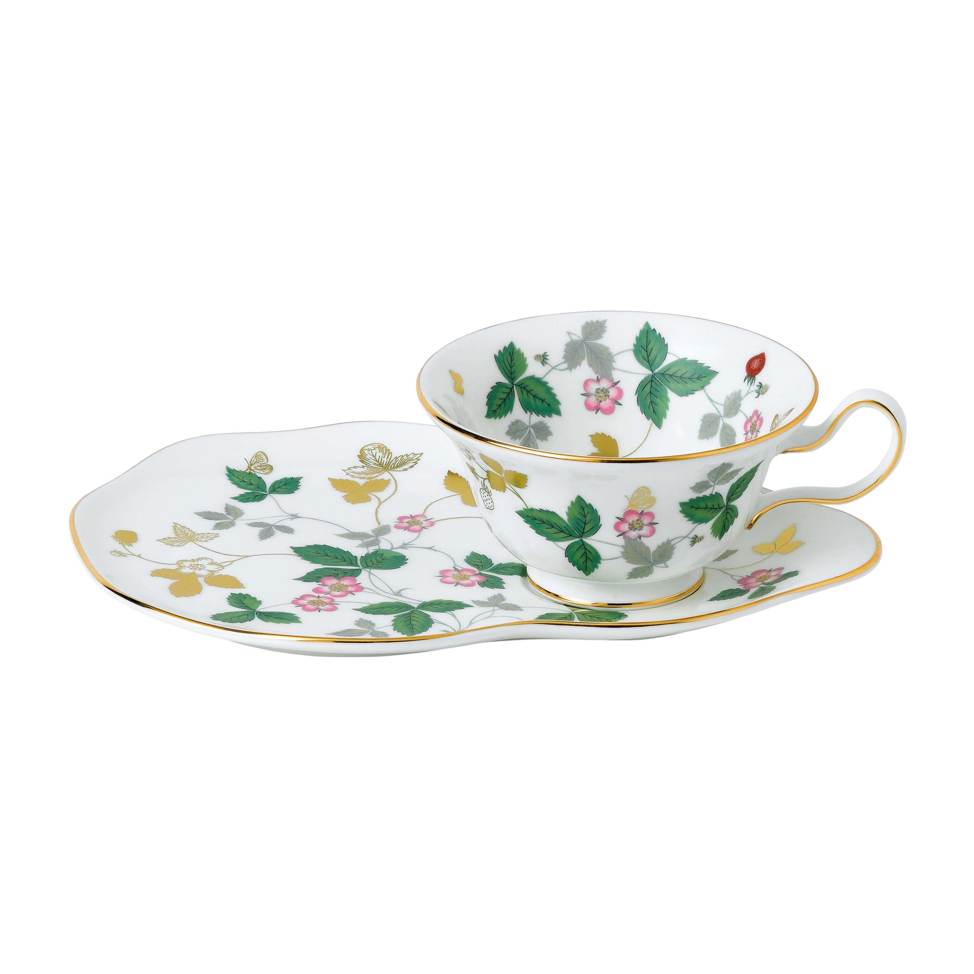 Wild Strawberry Gold Peony Tea Cup & Hostess Tray