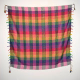 Pat rainbow keffiyeh by Tahrir Scarf (full spread) with hot pink and black