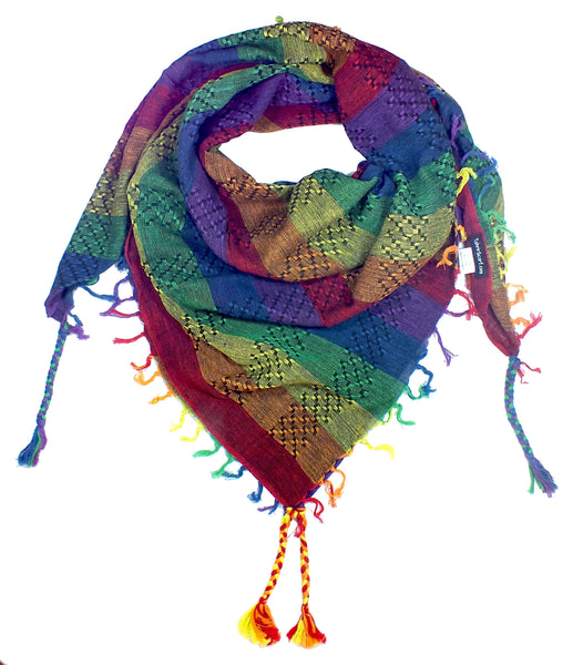 Dark rainbow keffiyeh by Tahrir Scarf in black (neck fold)