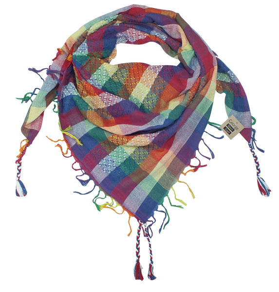 George keffiyeh rainbow by Tahrir Scarf in red, white and blue (neck fold)