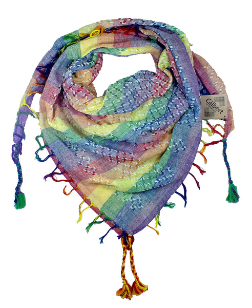 Gilbert pastel rainbow keffiyeh by Tahrir Scarf in white (neck fold)