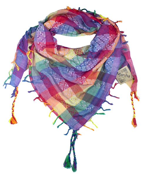 Marsha keffiyeh rainbow by Tahrir Scarf in pinks and lavender (neck fold)