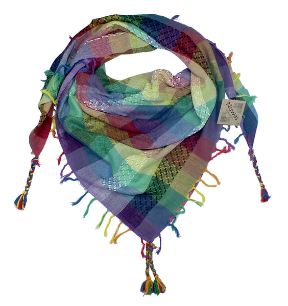 Nuwas rainbow keffiyeh by Tahrir Scarf gray-scale, white, black (neck fold)