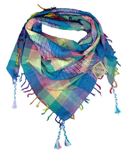 Sylvia (trans) keffiyeh rainbow by Tahrir Scarf in pink, light blue and white (neck fold)