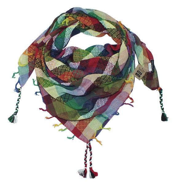 Tahrir rainbow queer keffiyeh by Tahrir Scarf (neck fold)