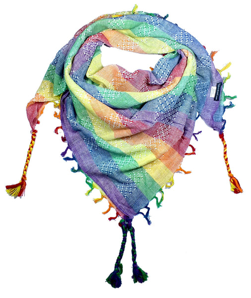 Pastel stripe rainbow keffiyeh by Tahrir Scarf in classic white (neck fold)