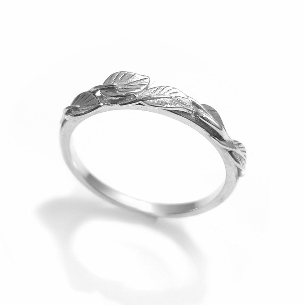 Leaves Matching wedding band in 14K white gold, wedding band, 18k leaf ring, vine ring, wedding ring