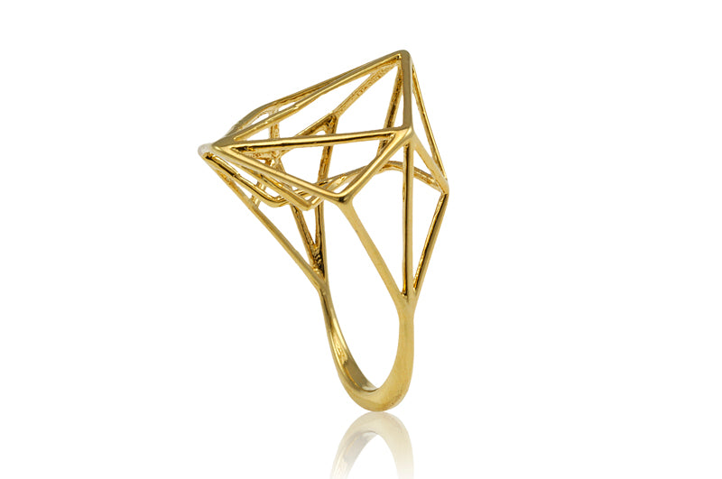 Osnat Har Noy Jewelry, geometric ring, designer ring, gold plated geometric ring, geometric jewelry,gifts for her, unique geometric ring