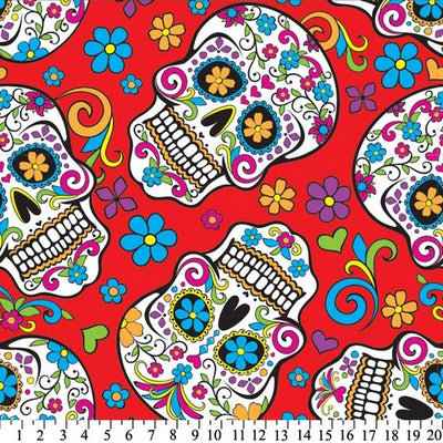 Anti-Pill Skulls Día de Muertos Red Fleece F1353