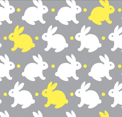 Premium Anti-Pill Bedtime Bunny Grey Yellow Fleece F1464
