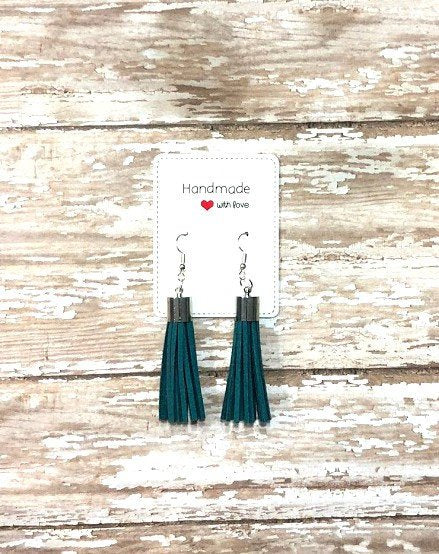 Teal Silver Faux Suede Tassel Earrings
