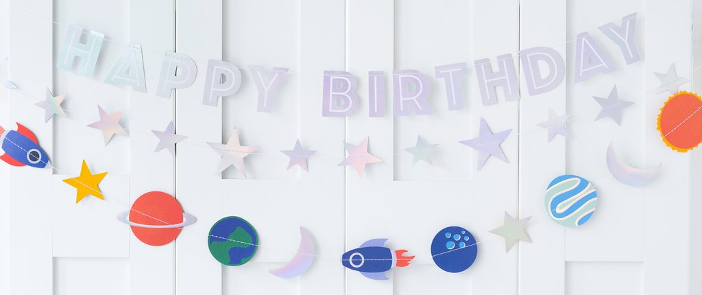 To The Moon Happy Birthday Banner