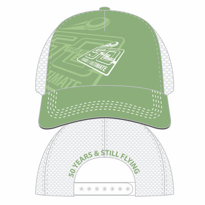 50th Anniversary of Ultimate: '50 Years' Technical 5-Panel Trucker from Boco -Green