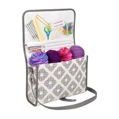 Deluxe Knitting Storage Tote w/ Removable Leather Strap