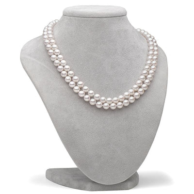 White Akoya Double Strand Pearl Necklace, 7.0-7.5mm as Shown on Bust
