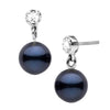 Black Akoya Pearl and Diamond Dangle Earrings, 6.0-6.5mm, Sterling Silver or 14K White Gold