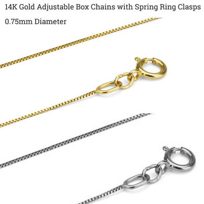 14K Gold Adjustable Box Chains - Choose Sterling Silver, White or Yellow Gold
