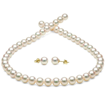 White Hanadama Akoya Pearl Jewelry Set, 7.0-7.5mm, 14K Yellow Gold