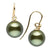 Black Tahitian Pearl and Diamond Shepherd Dangle Earrings