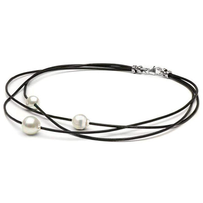 White South Sea Baroque Pearls on Braided Leather Choker, 9-10m and 10-11m, Sterling Silver
