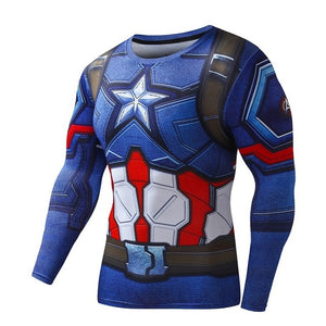 Mens Long Sleeve Fitness Shirt - Captain America Civil War