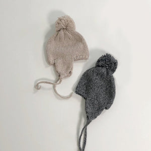 Knitted Earflap Hat, Beige