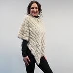 Rabbit Fur Poncho - Cream